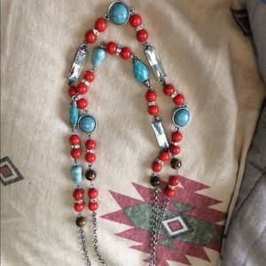 Red and turquoise Western necklace